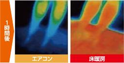 1時間後サーモグラフィ・エアコン床暖房比較